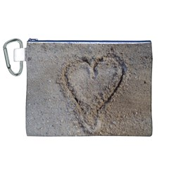 Heart In The Sand Canvas Cosmetic Bag (xl) by yoursparklingshop
