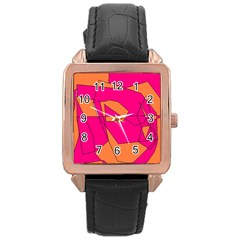 Red Orange 5000 Rose Gold Leather Watch