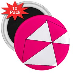 Pink White Art Kids 7000 3  Button Magnet (10 Pack)