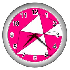 Pink White Art Kids 7000 Wall Clock (silver)