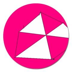 Pink White Art Kids 7000 Magnet 5  (round)