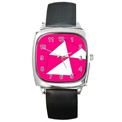 Pink White Art Kids 7000 Square Leather Watch