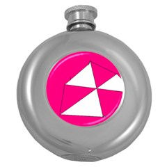 Pink White Art Kids 7000 Hip Flask (round)