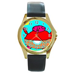 Sweet Pig Knoremans, Art By Kids Round Leather Watch (gold Rim)  by yoursparklingshop
