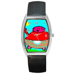 Sweet Pig Knoremans, Art By Kids Tonneau Leather Watch by yoursparklingshop