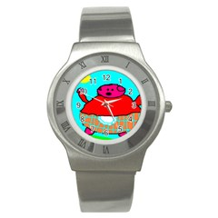 Sweet Pig Knoremans, Art By Kids Stainless Steel Watch (slim)