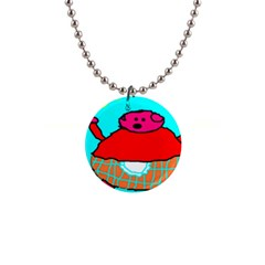 Sweet Pig Knoremans, Art By Kids Button Necklace by yoursparklingshop