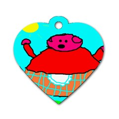 Sweet Pig Knoremans, Art By Kids Dog Tag Heart (one Sided)