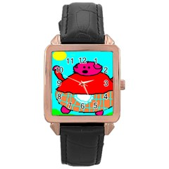 Sweet Pig Knoremans, Art By Kids Rose Gold Leather Watch