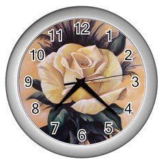 Yellow Rose Wall Clock (silver) by ArtByThree