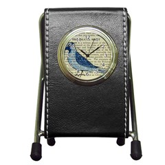 Bird Stationery Holder Clock