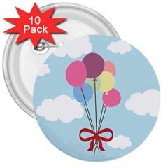 Balloons 3  Button (10 Pack) by Kathrinlegg