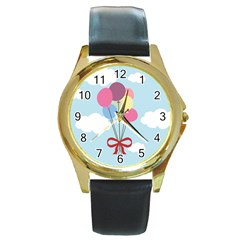 Balloons Round Leather Watch (gold Rim)