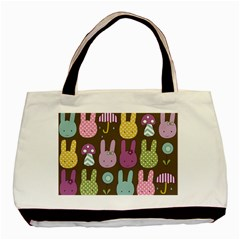 Bunny  Twin-sided Black Tote Bag by Kathrinlegg
