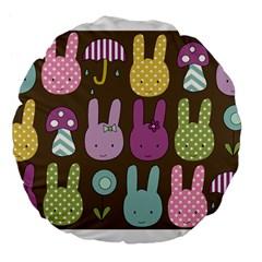 Bunny  Large 18  Premium Flano Round Cushion  by Kathrinlegg