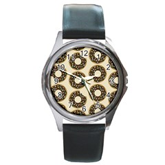 Donuts Round Leather Watch (silver Rim) by Kathrinlegg