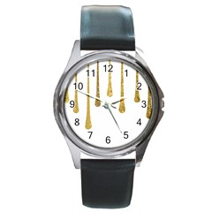 Gold Glitter Paint Round Leather Watch (Silver Rim) by Kathrinlegg