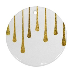 Gold Glitter Paint Round Ornament (two Sides) by Kathrinlegg