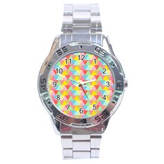 Triangle Pattern Stainless Steel Watch by Kathrinlegg