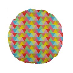 Triangle Pattern Standard 15  Premium Flano Round Cushion  by Kathrinlegg