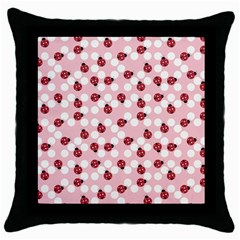 Spot The Ladybug Black Throw Pillow Case by Kathrinlegg