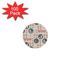 Love Birds 1  Mini Button (100 Pack) by Kathrinlegg
