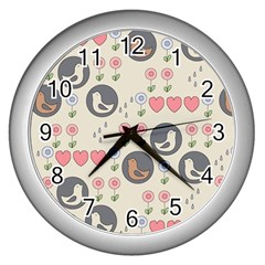 Love Birds Wall Clock (silver) by Kathrinlegg