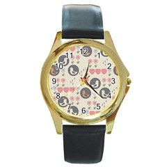 Love Birds Round Leather Watch (Gold Rim)  by Kathrinlegg