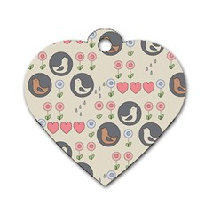 Love Birds Dog Tag Heart (one Sided)  by Kathrinlegg