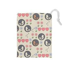 Love Birds Drawstring Pouch (Medium) by Kathrinlegg