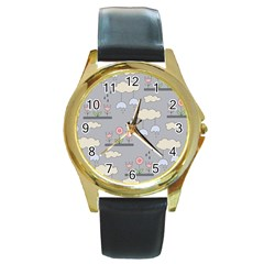 Garden In The Sky Round Leather Watch (gold Rim)  by Kathrinlegg