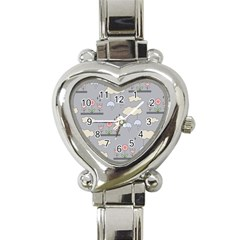 Garden In The Sky Heart Italian Charm Watch  by Kathrinlegg