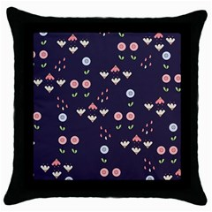 Summer Garden Black Throw Pillow Case by Kathrinlegg