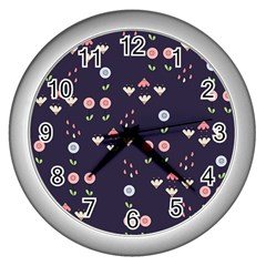 Summer Garden Wall Clock (silver) by Kathrinlegg