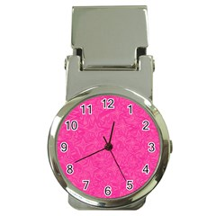 Abstract Stars In Hot Pink Money Clip With Watch by StuffOrSomething