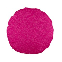 Abstract Stars In Hot Pink Standard 15  Premium Flano Round Cushion  by StuffOrSomething