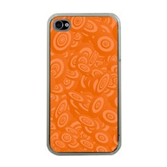 Orange Abstract 45s Apple Iphone 4 Case (clear) by StuffOrSomething