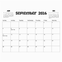 The Addams Family Calendar By Joey Mcdaniel   Wall Calendar 11  X 8 5  (18 Months)   Ne3mavok818e   Www Artscow Com Sep 2016