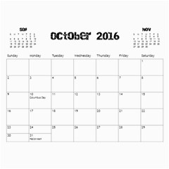 The Addams Family Calendar By Joey Mcdaniel   Wall Calendar 11  X 8 5  (18 Months)   Ne3mavok818e   Www Artscow Com Oct 2016