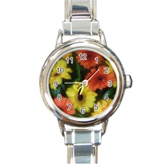 Orange Yellow Daisy Flowers Gerbera Round Italian Charm Watch