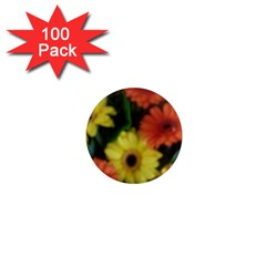 Orange Yellow Daisy Flowers Gerbera 1  Mini Button Magnet (100 Pack)