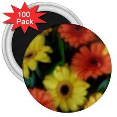 Orange Yellow Daisy Flowers Gerbera 3  Button Magnet (100 Pack)