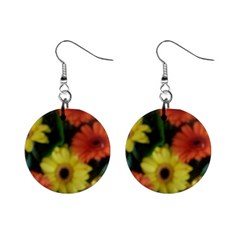 Orange Yellow Daisy Flowers Gerbera Mini Button Earrings