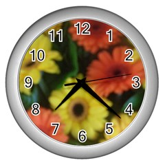 Orange Yellow Daisy Flowers Gerbera Wall Clock (silver) by yoursparklingshop