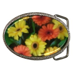Orange Yellow Daisy Flowers Gerbera Belt Buckle (oval)