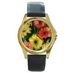 Orange Yellow Daisy Flowers Gerbera Round Leather Watch (gold Rim)