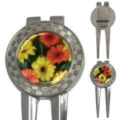 Orange Yellow Daisy Flowers Gerbera Golf Pitchfork & Ball Marker