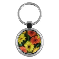 Orange Yellow Daisy Flowers Gerbera Key Chain (round) by yoursparklingshop