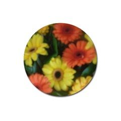 Orange Yellow Daisy Flowers Gerbera Magnet 3  (round) by yoursparklingshop