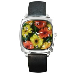 Orange Yellow Daisy Flowers Gerbera Square Leather Watch